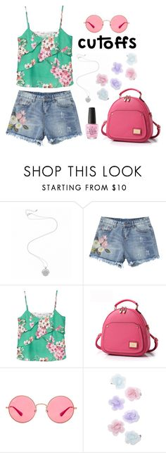 """""""Denim Cutoffs"""" by lovekaitlin ❤ liked on Polyvore featuring MANGO, Ray-Ban, Monsoon and OPI"""