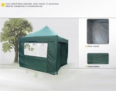 Quictent 3x3 Meter Green Pop Up Gazebo Canopy Silver-coated Waterproof With Sidewalls and Bag: Amazon.co.uk: Sports & Outdoors