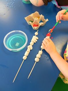 let the kids make the beads!  Air dry clay, paint, and skewers are all you need. (scroll down after the painting part)