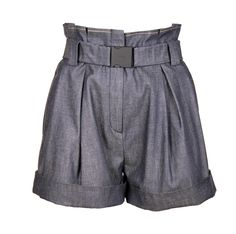 Denim high-waist shorts Removable belt and Front double pleat detail Made in Italy High Waisted Shorts, Casual Shorts, Denim Shorts, Short Dresses, Cotton, Women, Fashion, High Wasted Shorts, Short Gowns