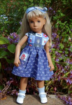 """Co-ordinating nautical theme cotton fabrics make a pretty dress for the smaller size 16"""" Sasha Doll. Nautical Dress for 16"""" Sasha Doll. Nautical Outfit for Sasha. Bodice is lined and dress fastens at the back with small buttons.   eBay!"""
