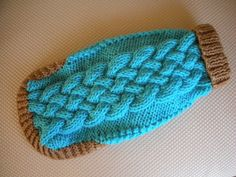 Basket Weave Cable Knit Dog Sweater  Aqua  11.5 by bychancedesigns, $30.00