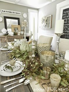 Green and Silver Mercury Glass Thanksgiving Tablescape from Rooms For Rent | Friday Favorites at http://www.andersonandgrant.com