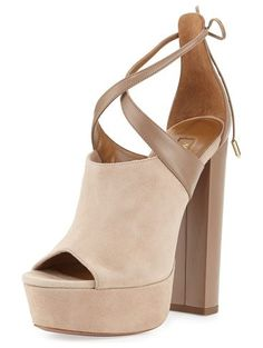 """On SALE at 60% OFF! Kaya Plateau Suede 140mm Sandal by Aquazzura. Aquazzura suede and calf leather sandal. 5.5"""" covered heel; 1"""" platform; 4.5"""" equiv. Open toe. Crisscross straps tie ..."""