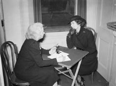 A widow of a civil servant seeks advice about her delayed pension from volunteer Mrs Wraight at the Citizens' Advice Bureau in Croydon. Mrs Wraight was one of 12 volunteers working at the bureau at this time. Volunteer Work, Croydon, Citizen, The Past, Interview, England, Advice, Relationship, This Or That Questions
