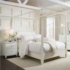 Highland Feather Hutterite Double Down Duvet in White »I would need to add a little color to this space, but it really is pretty!