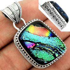 Dichoric Glass 925 Sterling Silver Pendant Jewelry DICP421