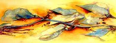 Pamela Vosseller: Watercolor, mixed media, Beach debris of the natural kind.