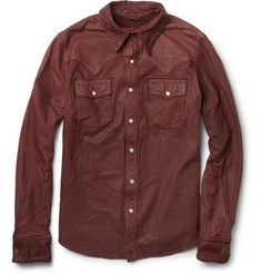Jean Shop Slim-Fit Washed-Leather Shirt | MR PORTER