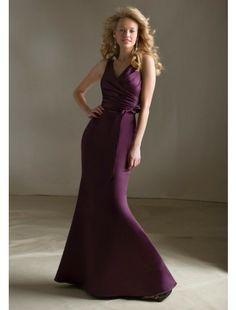 Trumpet V-Neck Floor-length Satin Bridesmaid Dress