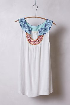 love the colors especially orange and white Embroidered A-Line Tank #anthropologie