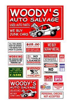 1 25 G Scale Model Automobile Auto Salvage Junk Yard Signs | eBay