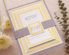 Classic fonts and double frames, layered together to create a simple but elegant wedding invitation suite from @swiss_robin. I love the combination of yellow and grey