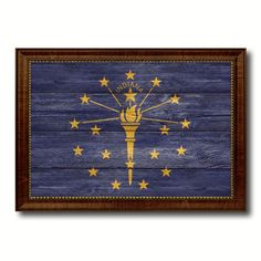 Indiana State Flag Art Gift Vintage Rustic Western ManCave Bar Home Decor 6076 #VintageRustic