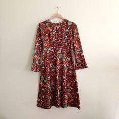 Vintage Mushroom & Berry Print Dress