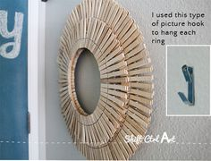 "How to make laundry room art with clothes pins, two embroidery hoops 14"" & 9"", 5 packages clothespins, wire, for hanging."