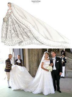 lovelymariechantal:  Wedding of Princess Madeleine of Sweden and Chris O'Neill with Valentino's sketch of her dress