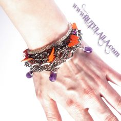 Butterfly Bracelet with Mixed Metal, Amethyst, sparkling swarovski crystals and fabric.  To see more visit www.ruthlaila.com Or https://www.facebook.com/pages/Ruth-Laila-Design/187025864691203