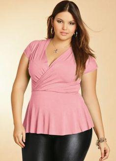Blusa Rosa com Decote V Transpassado Quintess - Moda Feminina Blusa Bata Plus Size Feminino - Quintess - Moda Feminina
