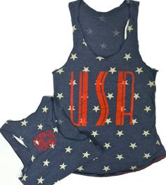 Racerback Monogrammed USA Pride Stars Tank by AmericanGirlStyles, $25.00
