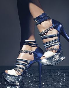 Diamonds - Couture Gowns - Angela Lindvall - silver and blue shoes
