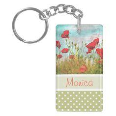 #monogrammed - #Cute Classic Poppy Flowers Meadow Field Watercolor Keychain
