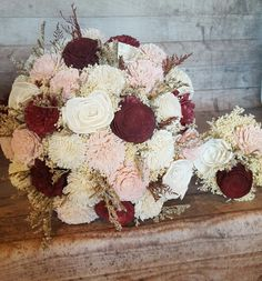Sola Bouquets are a beautiful and unique alternative! You and your bridal party can keep them forever! This listing is for a Custom Made to order Wedding Collection made with Natural Undyed Ivory Sola Flowers along with Burgundy/Dark Cabernet and blush Dyed Sola flowers! A romantic combination! These bouquets are from a previous order but I can replicate them OR Dye the flowers to match your colors! I hand dye the sola flowers myself so I can match your wedding colors! You can send me photos…