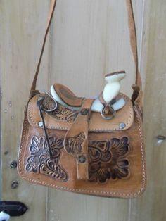 Vintage Mini Western Saddle Purse Handbag Cowboy Tooled Leather Deco  Horses.  39.00 a864457d2ebdb