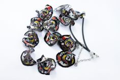 Polymer Clay Handmade Necklace  Black White by eteniren on Etsy, $21.30