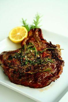 Grilled Garlic and Rosemary Ribeye Steak ~ http://steamykitchen.com