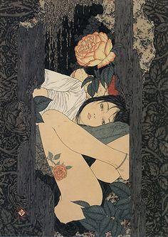 Les peintures de l'artiste japonais Yamamoto Takato, entre érotisme et fantaisie, avec un style et une technique très proche de l'estampe japonaise traditionn