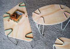 Snap clip-on supports create furniture from found objects.