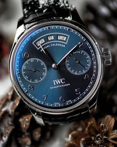 Ready for the Holiday Season with the IWC Portugieser Annual Calendar. Photo by: Roberto Iván Cano Iwc Watches, Cool Watches, Apple Watch, International Watch Company, Iwc Pilot, Android Watch, Swiss Army Watches, Rolex, Watch Companies