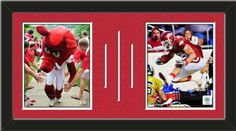 Two framed 8 x 10 inch University of Arkansas photos of Peyton Hillis Aarkansas Razorbacks double matted in team colors to 24 x 12 inches.  The lines show the bottom mat color. $69.99              @ ArtandMore.com