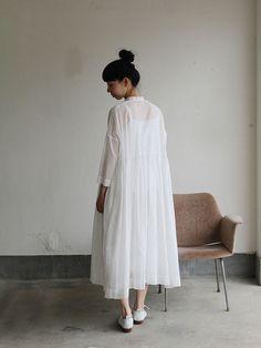Gather bottom big dress~fine lawn washer(white) 5