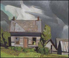 """Log Cabin, Redmond Bay, Lake Baptiste,"" Alfred Joseph (A.J.) Casson, oil on board, 9 3/8 x 11 1/4"", private collection."