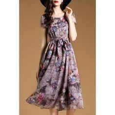 Wholesale Vintage Scoop Neck Short Sleeve Floral Print Chiffon Women's Dress Only $18.11 Drop Shipping | TrendsGal.com
