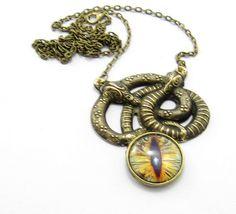 Golden Snake Serpent Necklace Snake Necklace by GlobalBrights