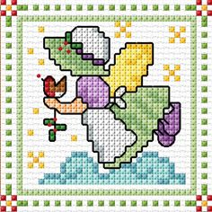 """December"" Sunbonnet Sue SAL 2018 by Lesley Teare Marvel Cross Stitch, 123 Cross Stitch, Cross Stitch For Kids, Cross Stitch Cards, Simple Cross Stitch, Cross Stitch Alphabet, Cross Stitch Designs, Cross Stitching, Cross Stitch Embroidery"