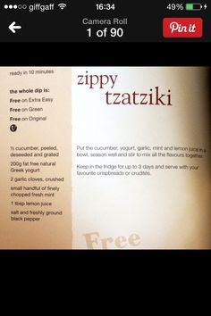 Slimming world tzatziki - Food: Veggie tables Slimming World Recipes Syn Free, Slimming World Plan, Healthy Eating Tips, Healthy Nutrition, Healthy Dinners, Healthy Eats, Slimming Workd, Chicken And Bacon Pasta Bake, Tzatziki Recipes