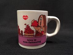 Vintage Cathy Coffee Mug 1983 Love Is Non Fattening Tea Cup Ceramic Funny Comic  #AmericanGreetings