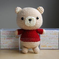 *IMPORTANT NOTE* - This is a crochet pattern, not the completed toy. What a sweet little bear! This pattern is easy to follow but requires