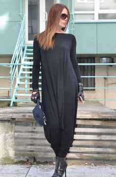 NEW Handmade Cotton Full Sleeves Jumpsuit for Ladies/Causal Black Drop Crotch/Casual Black Jumpsuit/Womens / – Hijab Fashion 2020 Casual Black Jumpsuit, Black Maxi, Dress Black, Hijab Casual, Hijab Chic, Casual Dresses, Estilo Street, Drop Crotch, Fashion 2020