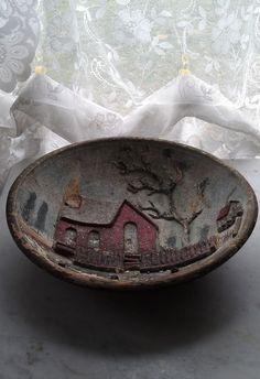 c.1800s American Wood Carving Folk Art Bowl