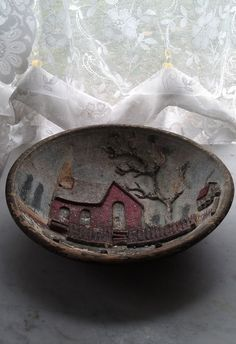 c.1800s American Wood Carving Folk Art Bowl