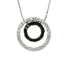 Pre-owned 14K White Gold Black & White Diamonds Double Circle Pendant... ($495) ❤ liked on Polyvore featuring jewelry, necklaces, white gold diamond pendant, circle pendant necklace, circle necklace, round pendant necklace and long necklace