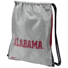 """Nike Alabama Crimson Tide Gray-Crimson Home & Away Gym Bag by Nike. $15.00. Tote your stuff in school pride with this Home & Away drawstring gym bag featuring two sides of team colors with the school name on one side and logo on the other!Team colors and logoScreen print graphicsDrawstring closureDouble-reinforced bottom cornersApproximately 14"""" x 17""""ImportedOfficially licensed NCAA product"""