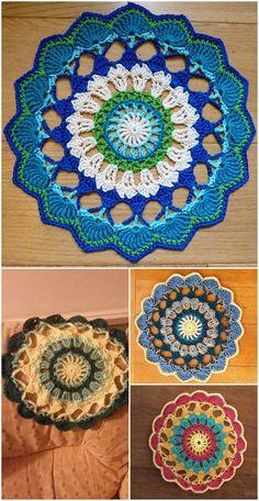 Easy Crochet 60 Free Crochet Mandala Patterns - Page 9 of 12 - DIY Crochet Round, Crochet Squares, Crochet Home, Crochet Yarn, Crochet Stitches, Free Crochet, Easy Crochet, Crochet Ideas, Crochet Rug Patterns