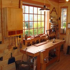 """""""Planing bench. 24light window behind it was made on this bench with hand planes and traditional sash joinery practice. Now I know why windows were called…"""""""