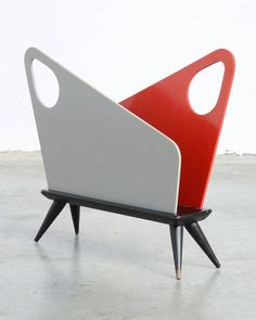 Anonymous; Lacquered Wood Magazine Holder by Bois Manu, 1950s.